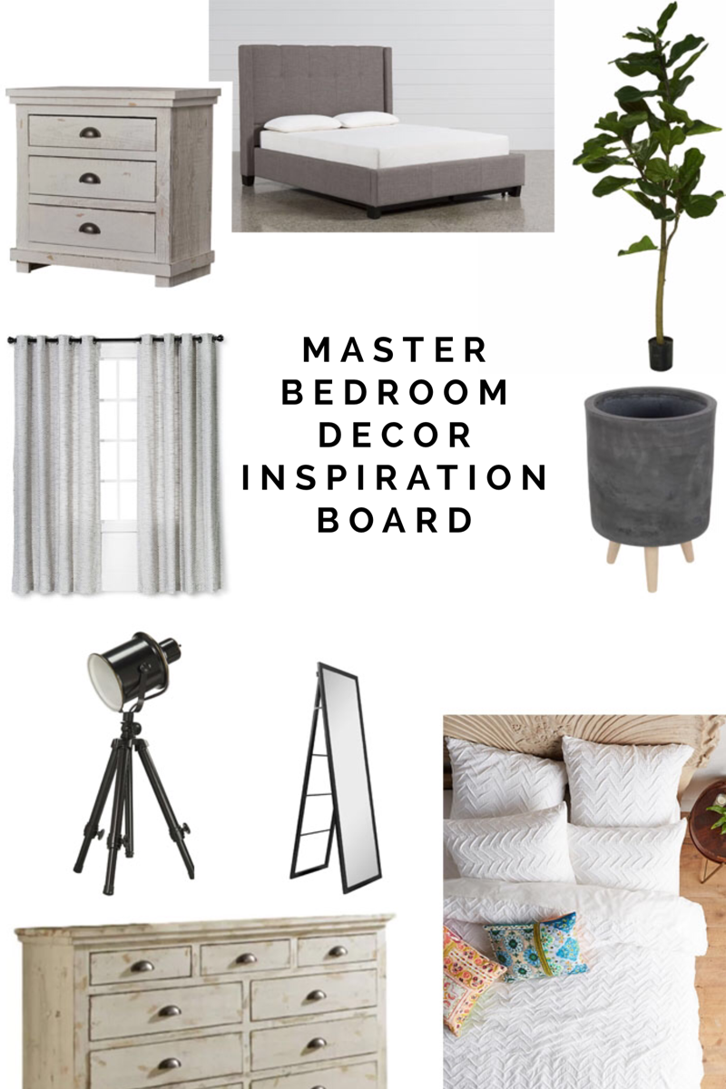 Master Bedroom Decor Inspiration - Modern Farmhouse Industrial - Grey White Black Room Mood Board